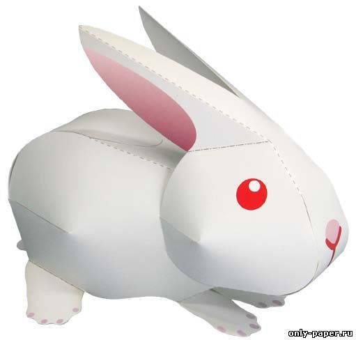 Модель из бумаги - Белый кролик в PDF Простейшая модель кролика - состоит из всего 1 листа бумаги! размер архива 3...